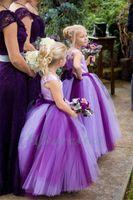 güzel balo elbisesi gelinlik toptan satış-Yeni 2018 Pretty Mor Çiçek Kız Elbise Kat Uzunluk Balo Çocuk Kız Gelinlik Kızlar Noel Partisi Törenlerinde
