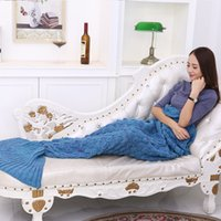 Wholesale Microfiber Blanket Soft - 180 x 90cm Mermaid Blanket Air Conditioning TV Blanket Handmade Sofa Soft Scale Pattern Fish Tail Blankets