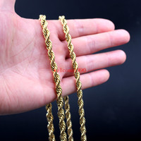 Wholesale 7mm Rope Chain - 24 inch Huge 6mm  7mm Gold Plated Stainless Steel Twisted singapore chain Rope Chain Link Necklaces Women Men Fashion GIfts