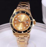 Wholesale Champagne Gold Belt - NEW the latest fashion automatic date luxury fashion men and women of the steel belt movement quartz clock men watch