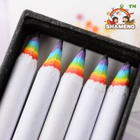 Wholesale Wooden Pencil Wholesale - 100pcs set school pencil Rainbow shell HB pencil wooden pencil office learning General packed in 20 box