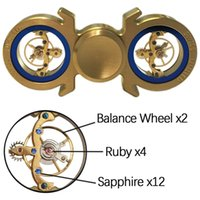 Wholesale Spinner Game - Tourbillon Diamond Fidget Spinner Tri Spin Finger Games Hand Toy Smooth Metal Copper Brass Ceramic Stable Swiss EDC High Speed Gold