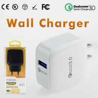 Wholesale Solar Wall Charger - QC3.0 Wall Charger For Samsung S7 S8 Fast Wall Charger Car Chargers S6 Travel Adapter EU US 5V 3A with Retail Package