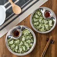 Wholesale Stainless Fruit Bowl - Stainless Steel Dumplings Dish Fruit Bowl Silver Dual-layer Disc Tool with mini Spices Dish Kitchen Accessories ZA3027