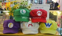 Wholesale purple mario - Super Mario Bros Anime Cosplay Red Cap Tag Super cotton hat Super mario hats Luigi hat 5 colors Free shipping E880