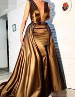 Wholesale Romantic Evening Dresses Women - 2017 Romantic Sheath Deep V Neck Long Evening Dress With Detachable Skirt Beaded Arabic Evening Gowns Gold Women Formal Dress for Party Wear