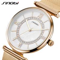 Wholesale Super Slim Watches - SINOBI Super Slim Gold Mesh Stainless Steel Watches Women Top Brand Luxury Casual Clock Woman Wrist Watch Lady Relogio Feminino