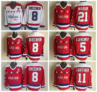 Wholesale Alexander 21 - Throwback Men 5 Rod Langway Jersey Washington 8 Alex Alexander Ovechkin 21 Dennis Maruk 11 Mike Gartner Red White Vintage Ice Hockey Jerseys