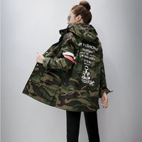 Wholesale Korean Long Frocks - Harajuku Korean Girls Student Camouflage Long Section Hooded Trench Coat Casual Graffiti windbreaker Female frock Outerwear