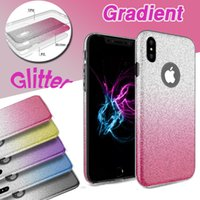 Glitter Gradiente Híbrido Bling Shiny 3 em 1 Case TPU + PC Shockproof Back Cover Protetor de Flash para iPhone X 8 7 Plus 6 6S Samsung Note 8 S8