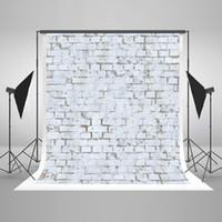 mur de briques achat en gros de-5x7ft (150x220cm) Rides Sans Coton Tissu Photographie Décors Blanc Brique Mur Fond Pour Accessoires Nouveau-Né Photographiques