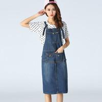 Wholesale Suspender Jeans Skirt - New 2016 Summer Fashion Preppy Long Suspender Skirt Denim Pocket Jeans Jumpsuit Overall Women