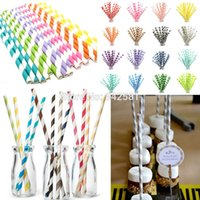 Wholesale Retro Paper Drinking - Wholesale-25X Colourful Paper Drinking Straws Straw Retro Vintage Striped Party Wedding Baby Shower