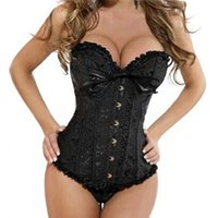 Wholesale Sexy Corset Size Large - Brand High Compression Fajas Sexy Satin Wedding Lace up Boned Corset Busiter Top Clubwear Large Size S-6XL