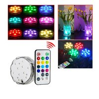 Wholesale Led Light Blub Remote - 10 LED Multicolor Submersible Waterproof Tea Floralytes Vase Base Light Bright Lamp Blub Remote new Hot