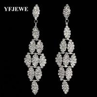 Wholesale Gold Chandelier Earrings For Bridal - YFJEWE Luxurious Crystal Earrings for Women's Birthday Large Long Dangle Earrings Bridal Wedding Jewelry Woman #E359