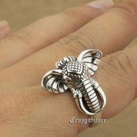925 Sterling Silver Tusk Elephant Charms Ring 8A040 Taille réglable US 7.5 ~ 9