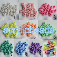 Wholesale Wholesale Bracelet Large Hole Bead - 2017 Newest Large Hole Plastic Acrylic Opaque Solid Color Round Beads for Charm Bracelets Free Shipping 8*10MM 100PCS Lot