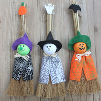 Wholesale pumpkin toys supplies for sale - Halloween Props Broom Decoration Party Favor Pumpkin Wizard Ghost Female Witch Cartoon Cute Doll Kid Toy Multi Pattern sl F R