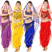 Wholesale Belly Dance Dancing Lace Pants - Egyptian Belly Dancewear Cotumes Top+Pants+Waist+Veil Women's Dance Clothing Bellydance Costume Adult Ballroom Party Performance Outfits
