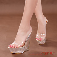 Wholesale Pink Peep Toes Wedges - Europe and America style Cool summer ultra-high with wedges crystal slippers 14cm commuter Peep-toe transparent sandals clubs