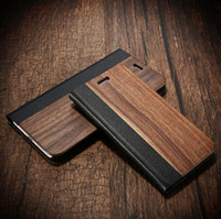 Wholesale wholesale wooden wallet online - Ultra thin Slim Business Style Retro Flip PU Leather Case Bamboo Wooden Combo Magnetic Wallet Case Back Cover For iPhone S Iphone plus