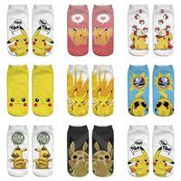 Wholesale Nylons Hosiery - Adult emoji Poke Socks Pikachu Squirtle Ash Boat Monster Ankle Poke go Pikachu Ship Ball Slippers Hosiery women men summer autum 3d socks