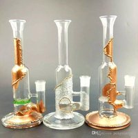 Wholesale Supporting Glasses - 11 inches Hookahs Gold Silver Oil Rigs 3 Colors Glass Bongs Creative Triple Support Recycler Smoking Water Pipes