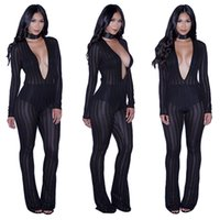 Wholesale Black Jumpsuit Boot Cut - 2017 Women New Fashion Sexy See Through Jumpsuits Bodysuits Ladies Boot Cut Party Bodycon Bandage Playsuits Club Autumn Vestidos Rompers