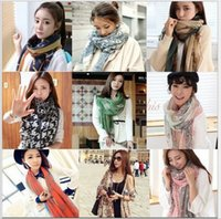 Atacado Moda feminina Voile Long Scarves Cosy Algodão Silk Scarf Wrap Shawl Para Todo o Ano Mixed Color Free Ship