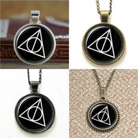 Wholesale Deathly Hallows Pendant Necklace - 10pcs Deathly Hallows Jewelry HP Mormons ctr Glass Photo Necklace keyring bookmark cufflink earring bracelet