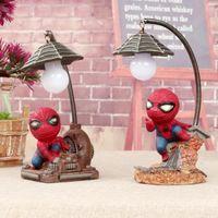 pequeñas lámparas de noche al por mayor-Retro Stump resina Spiderman LED luces intermitentes Noche Pequeña lámpara Night Club Bares Decoración de fiesta Navidad Lámparas coloridas Decoración para el hogar