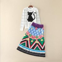 Wholesale Two Piece Dress Europe - Europe and the United States women's new winter 2016 Long-sleeved round collar cats printed sweaters + skirt suit
