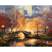 Wholesale Paint Number Kit Oils - 1Set Beautiful City Park Digital Oil Painting Canvas Paint By Number Kit 50x40cm No Frame For DIY Art Craft