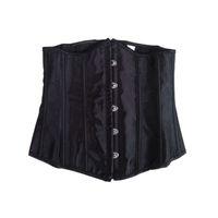 Wholesale lace basque lingerie - Wholesale Women Black Underbust corset lace up boned Sexy Bustier Lingerie Basques ett Waist Cincher