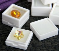 Wholesale Stud Cases - Free Shipping 35pcs White Plastic Square Gem Gemstone Diamond Jewelry Beads Stud Earring Display Box Case Showcase 1x1""