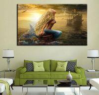 Wholesale Large Wall Canvas Modern Artwork - Mermaid Poster Unframed Print Painting Seascape Canvas Art Painting Large Wall Decorative Painting Modern Artwork Home Decor