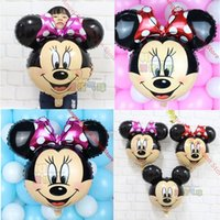 Wholesale Miki Red - New arrived 20pcs Minnie Mickey head balloon Cartoon Red Bowknot Miki Mini Birthday Party Wedding decorations children's toys