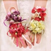 Wholesale groom flowers - 10Pcs Lot Wedding Wrist Hand Flowers Bride Bridesmaids Wrist Corsages Groom Corsages Boutonniere White High Quality