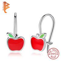 Wholesale Red Apple Earrings - BELAWANG New Arrival 925 Sterling Silver Children Earring Red Enamel Apple Hoop Earrings for Women Children Jewelry Gift Free Shipping
