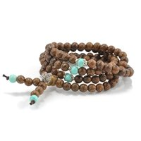 Wholesale mala prayer bead necklace - Wholesale-108*6MM Sandalwood Buddhist Meditation Prayer Bead Mala Necklace Pulseras Bracelet Jewelry For Women Men Jewelry