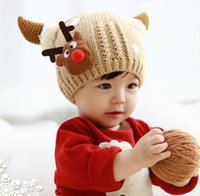 Wholesale Girs Set - Wholesale baby Boys Girs Winter snowflake deer hat scarf Sets Baby Crochet Beanie Wool Hat scarf set Cartoon Horns Christmas Hat set