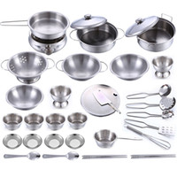 Wholesale 32Pcs Stainless Steel Kids House Kitchen Toy Cooking Cookware Children Pretend Play Kitchen Playset Silver