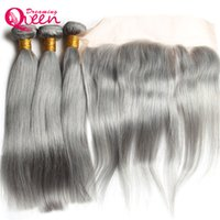 Wholesale Brazilian Knot Hair Extension - Grey Straight Hair Ombre Brazilian Virgin Human Hair Weave Extension 3 Bundles With 13x4 Lace Frontal Closure Gray Bleached Knot Frontal
