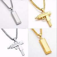 Wholesale Golden Star Charm - Fashion Jewelry Hip Hop Dance Charm Gun Necklace Star Jewelry Men Franco Chain Hiphop Golden Necklace