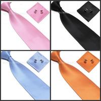 Wholesale Wholesale Silk Handkerchiefs Wholesalers - Men 's Tie Cuff Links 100% SILK Handkerchief Set New Christmas Gift free shipping