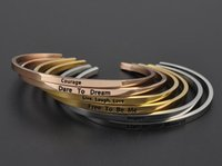 Wholesale Thin Gold Plated Bangles Wholesale - Wholesale custom jewelry Positive Inspirational Quote MantraBand Bracelet Stainless Steel Thin Cuff Bangle Gold Pleated