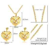 Wholesale 23 Earring - Jewelry Suit pendant + earrings gold product launches zircon stainless steel hollow out heart 23 mm36mm popular adorn article Accessories