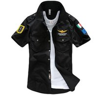 Wholesale military logos - Aeronautica Militare Air Force One t shirt Men Brand Shirts Men Military Plane Pilot Shirt Chest Logo Embroidery Casual Shirt