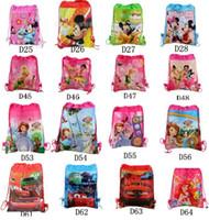 Wholesale Types Girl Backpacks - New Drawstring Bags Non Woven Sling Bag Kids Backpacks Storage bag Girls Party Gift Cartoon bags Birthday toys Storage Beam rope bag I113